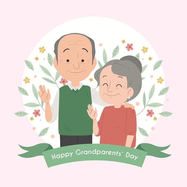 National grandparents' day with senior couple Free Vector
