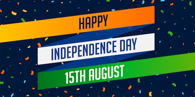 National indian happy independence day celebration banner Free Vector