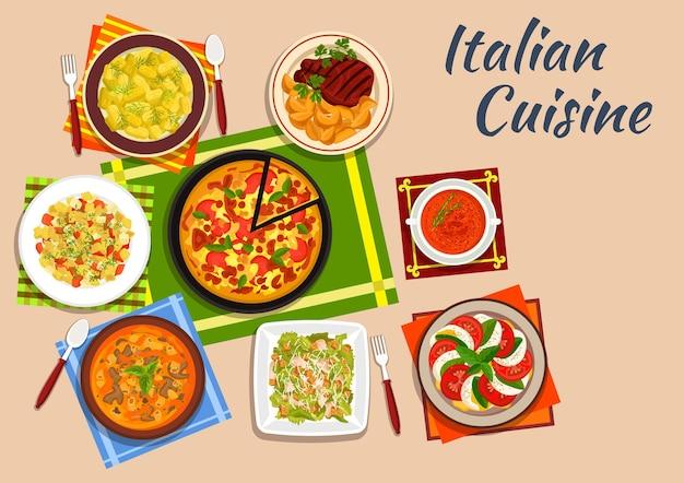 Национальная итальянская кухня с пиццей маргарита в окружении салата из помидоров и моцареллы и картофельных ньокки Premium векторы