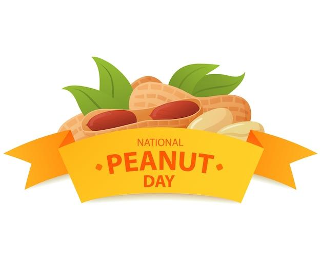 Национальный день арахиса. логотип Premium векторы