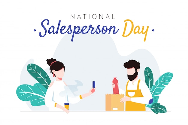 National salesperson day horizontal banner template. man packing sausage into bag for female customer. Premium Vector