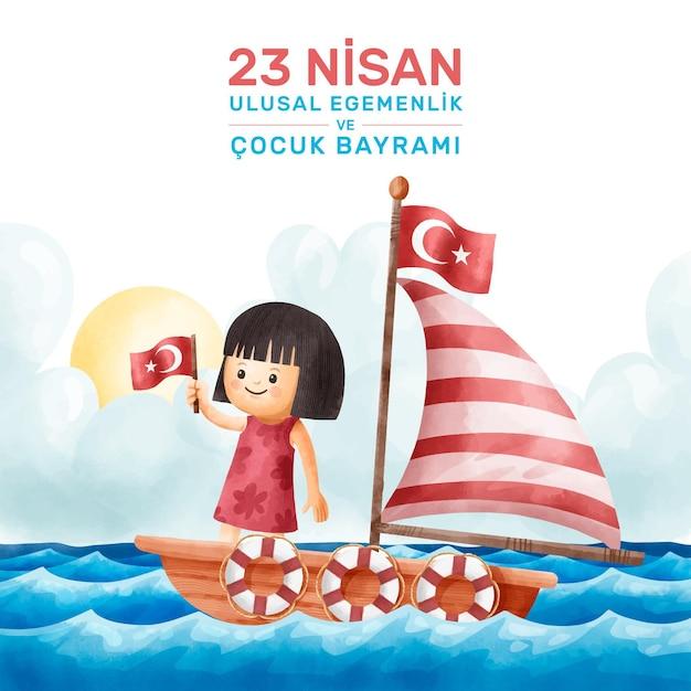 Национальный суверенитет и ребенок на лодке Бесплатные векторы