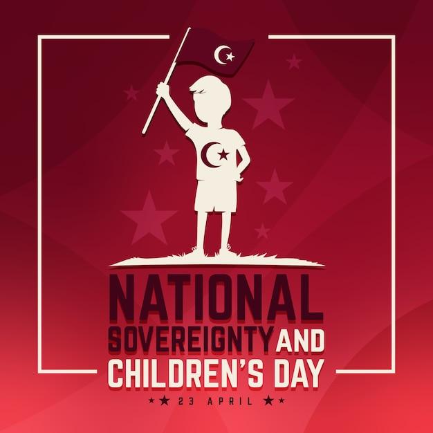 Национальный суверенитет и детский день и флаг Premium векторы