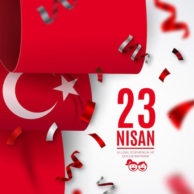 Празднование национального суверенитета с лентами турецкого флага Premium векторы