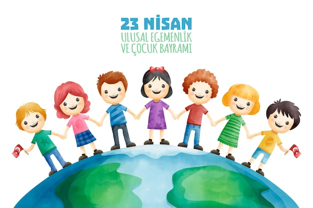 National sovereignty and children standing together Free Vector