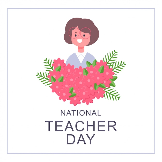 National teacher day card design. vector cartoon flat girl character in glasses and bouquet of flowers isolated Premium Vector