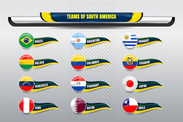 National teams of south america Premium Vector