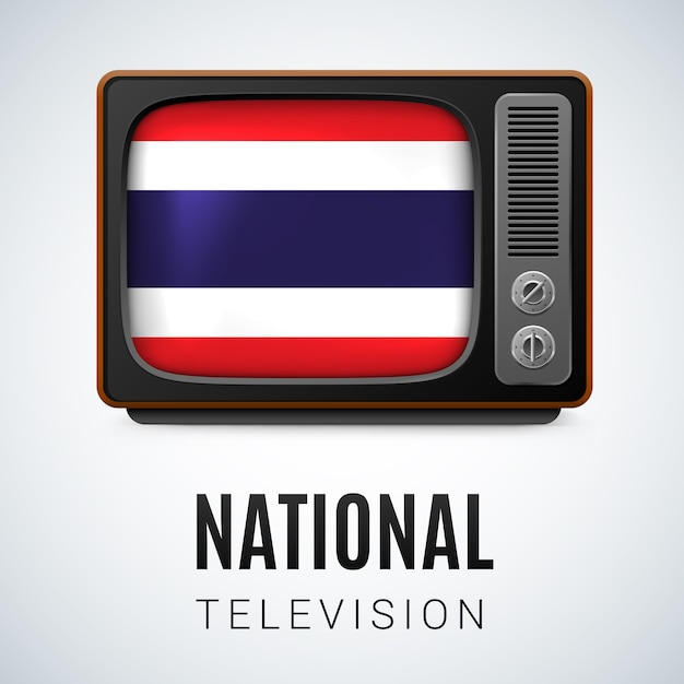 National television Premium Vector