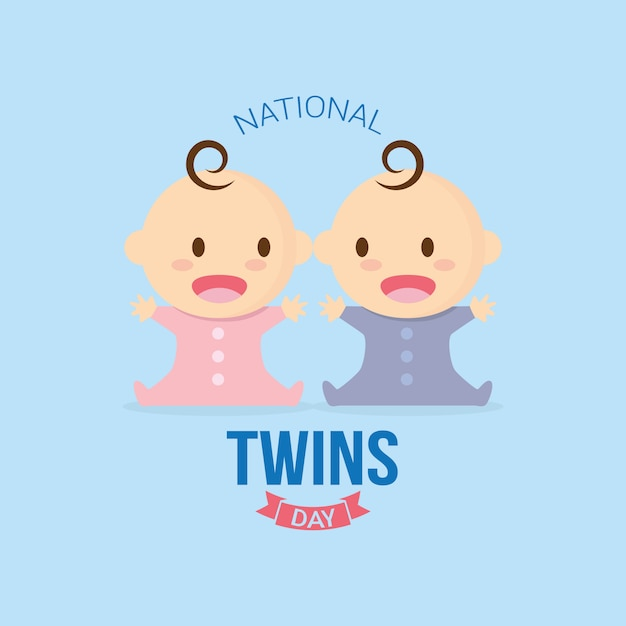National twins day Premium Vector