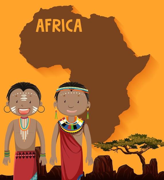 Tribù africana nativa con mappa su Vettore gratuito