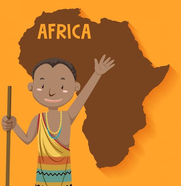 Tribù native africane con mappa sullo sfondo Vettore gratuito