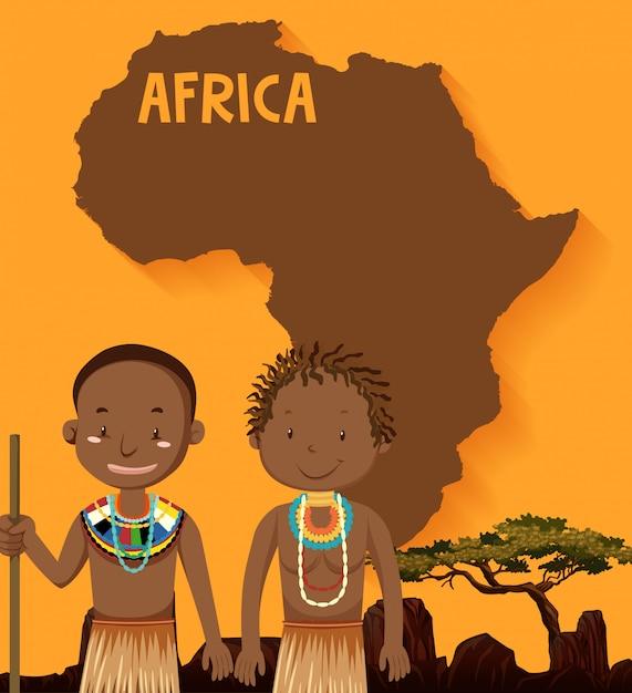 Tribù native africane con mappa Vettore gratuito