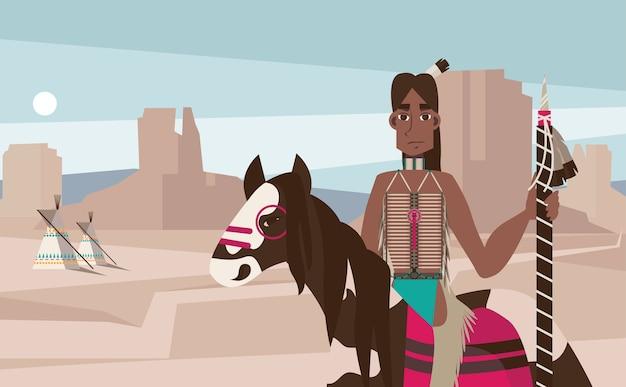 Индеец коренных американцев верхом на лошади Бесплатные векторы