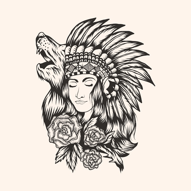 Native american  beautiful  girl vector illustration Premium Vector