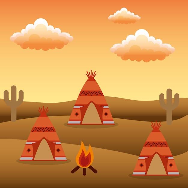 Native american camp teepees bonfire cactus Premium Vector