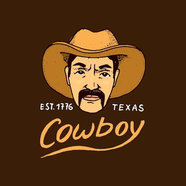 ネイティブアメリカン、カウボーイ。古いラベルまたはバッジ。保安官、西部。古いスケッチで描かれた刻まれた手。国とテキサス。 Premiumベクター