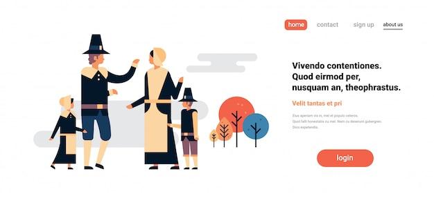 Native american family thanksgiving day celebrationg banner Premium Vector