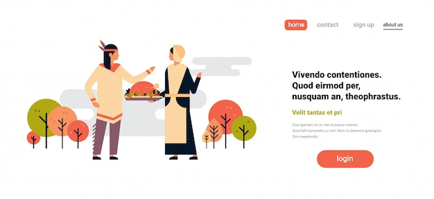 Native american indian couple celebrating thanksgiving day banner Premium Vector