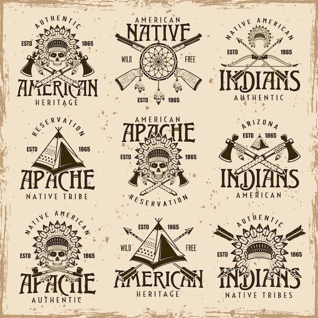 ネイティブアメリカンのインディアン、アパッチ族のベクトル茶色のエンブレムセット Premiumベクター