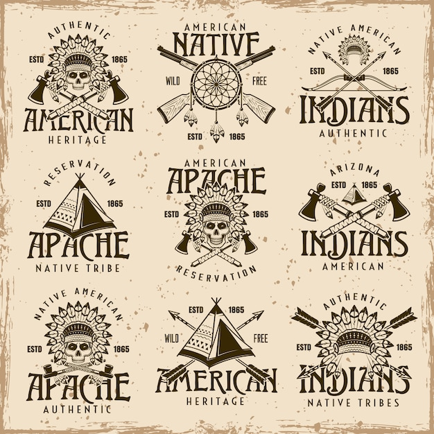 Native american indians, apache tribe set of vector brown emblems Premium Vector