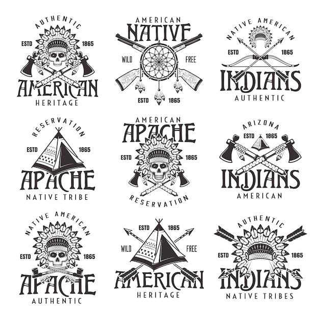 Native american indians, apache tribe set of vector vintage emblems Premium Vector
