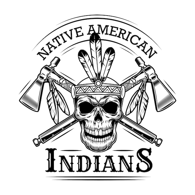 Native american skull vector illustration. head of skeleton with feather hairband, crossed axes and text. native americans and red indian concept for emblems or labels templates Free Vector