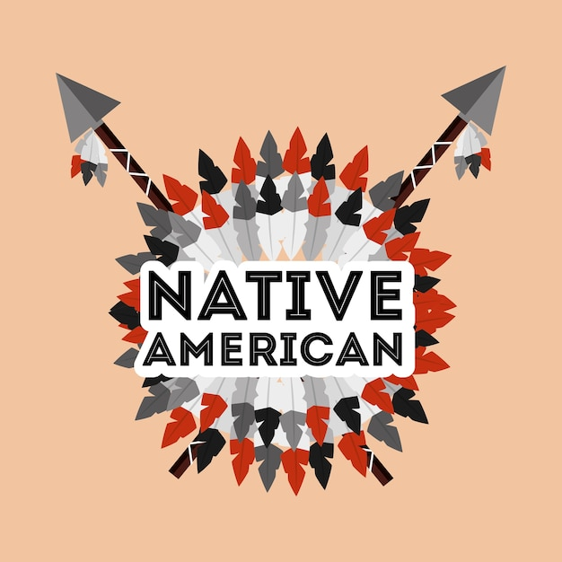 Native american spears crossed and feathers ornament Premium Vector