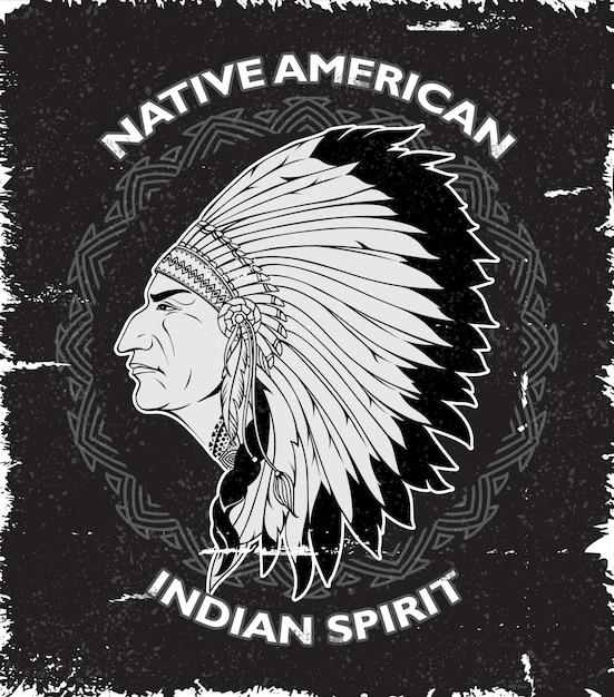 Spirito nativo americano design vintage Vettore gratuito