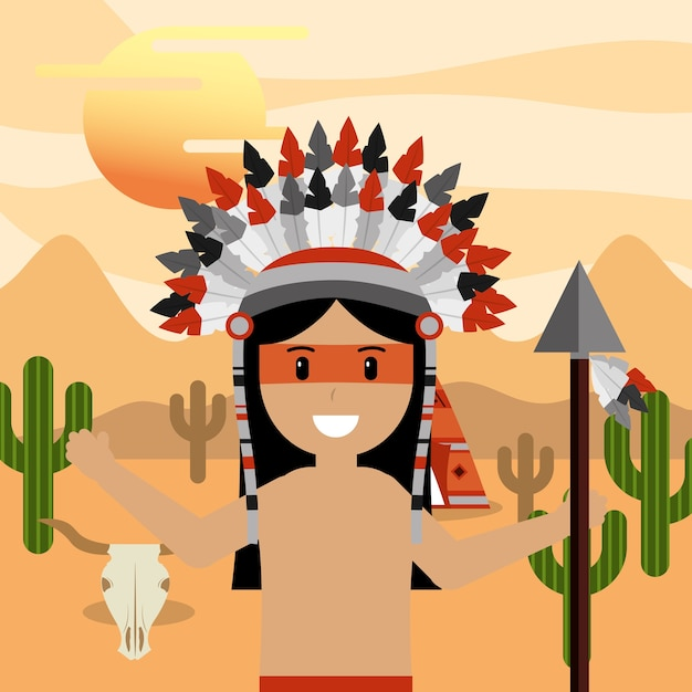 Native american with spear in hand at desert landscape Premium Vector