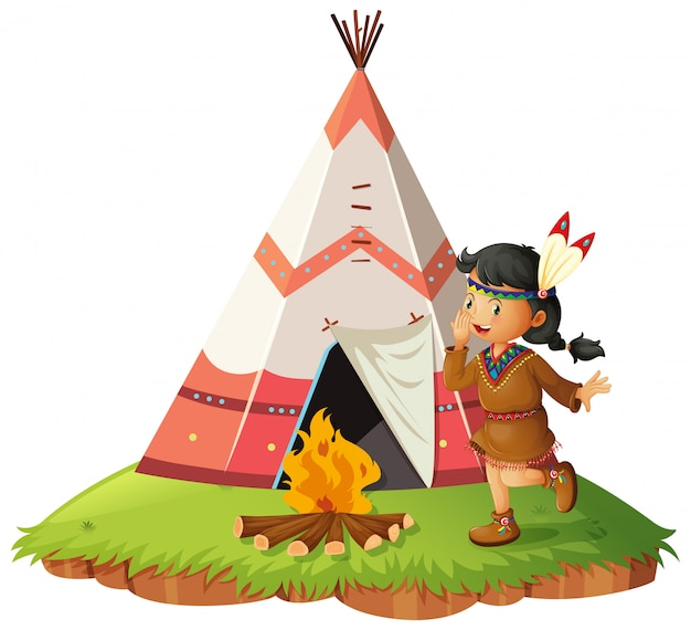 Native american woth teepee Free Vector