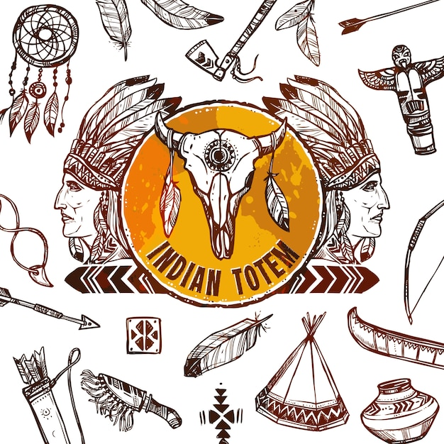 Native americans background Free Vector