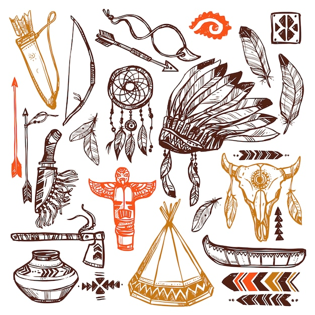 Native americans set Free Vector