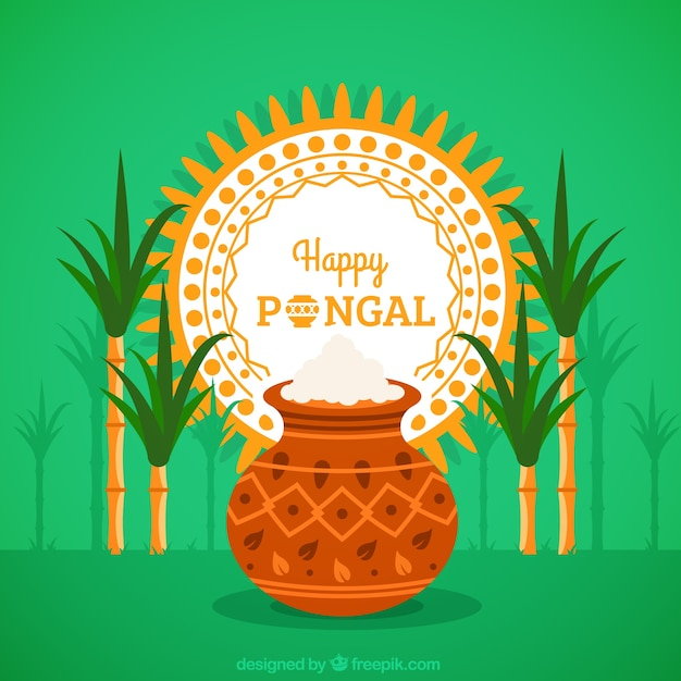 Native pongal rice pot background Free Vector