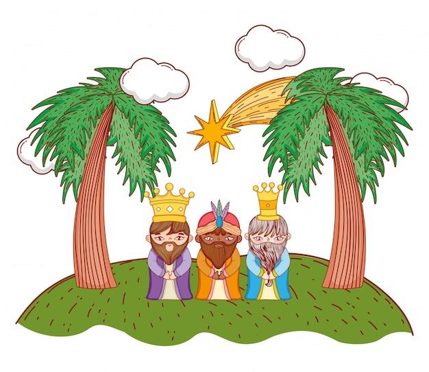 Nativity christmas cartoon Premium Vector