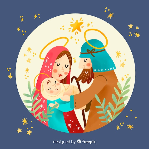 Nativity hand drawn illustration Free Vector