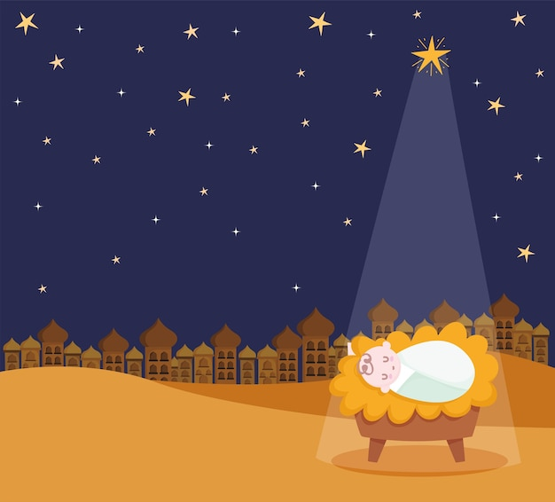 Рождество, ясли младенца иисуса звезда и легкая карикатура иллюстрации Premium векторы