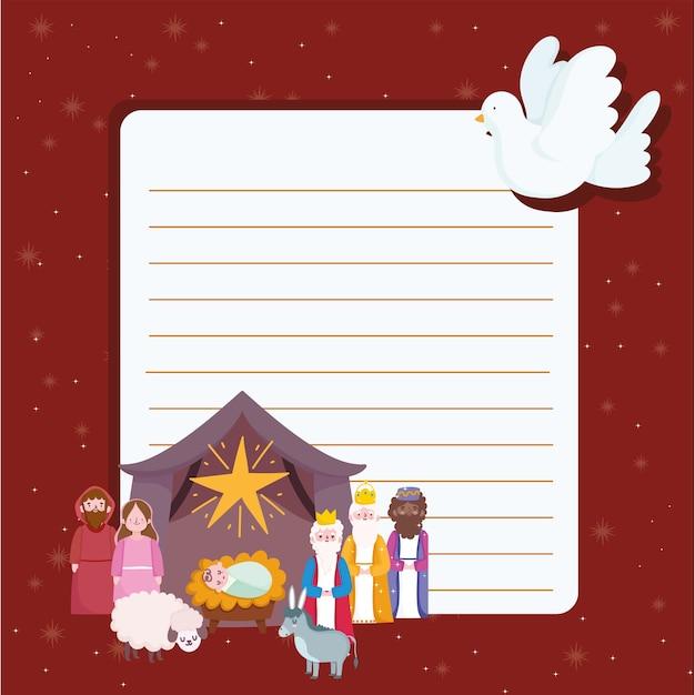 성탄절, 구유 문자 장면 비둘기와 스타 만화 편지 그림 프리미엄 벡터