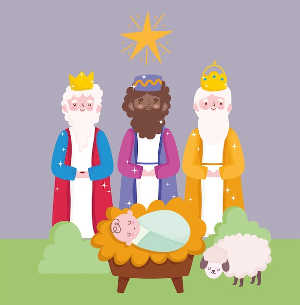Premium Vector | Nativity, manger cute baby jesus and three wise kings cartoon vector illustration