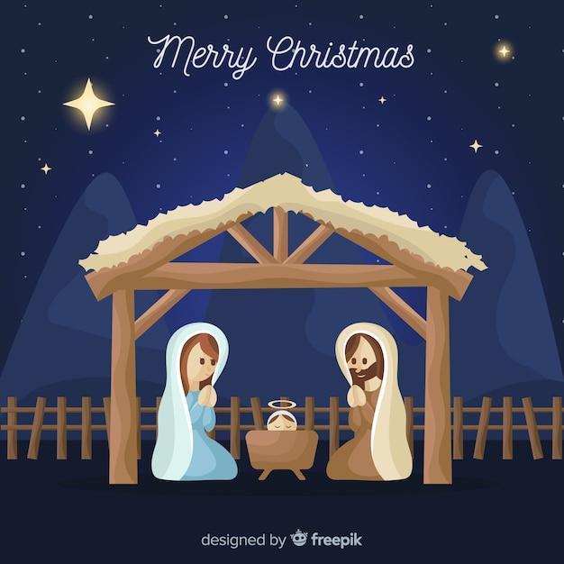 Nativity scene background in flat design Free Vector