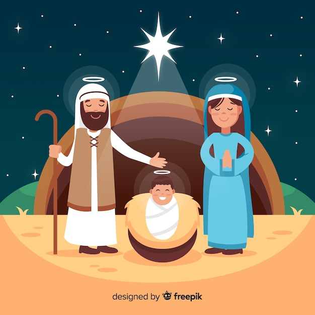 Nativity scene background in flat style Free Vector