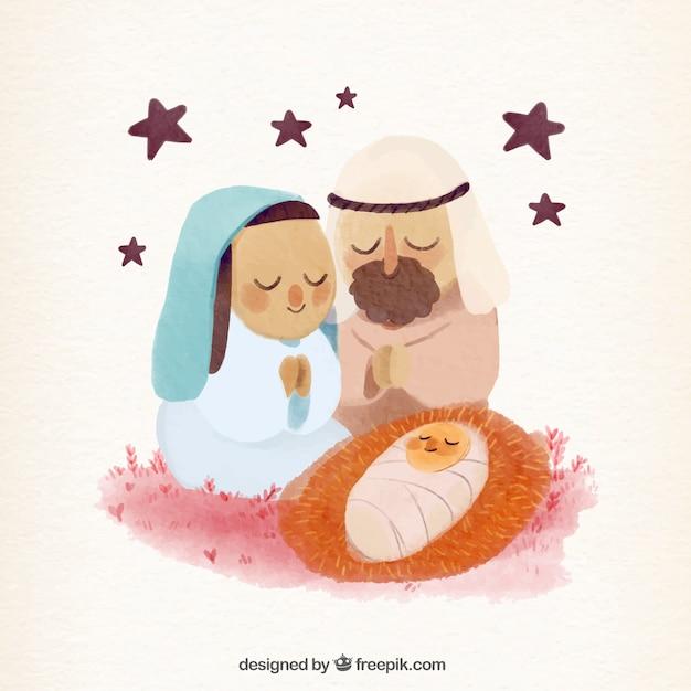 Nativity scene background in watercolor effect Free Vector