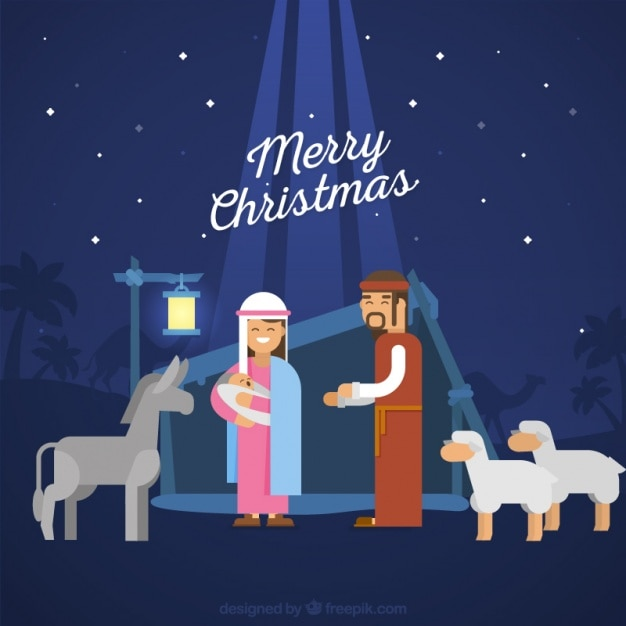 Nativity scene background with animals Free Vector