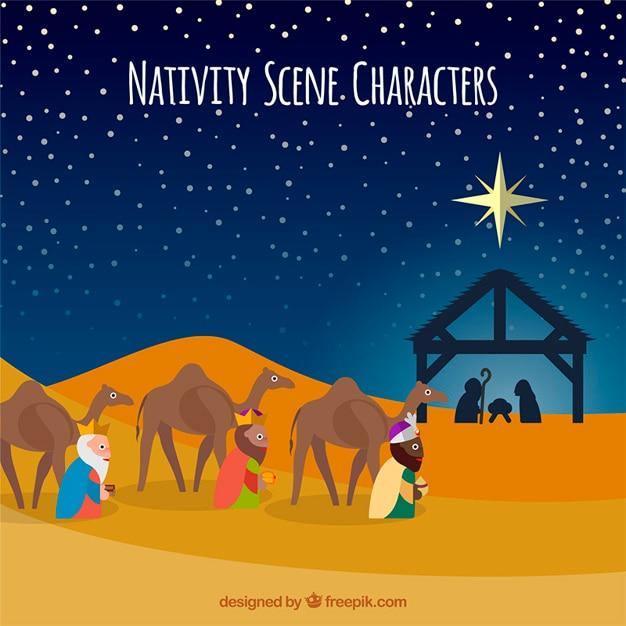 Nativity scene characters illustration Free Vector
