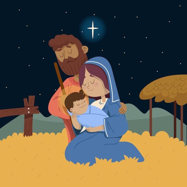 Nativity scene concept in hand drawn Free Vector