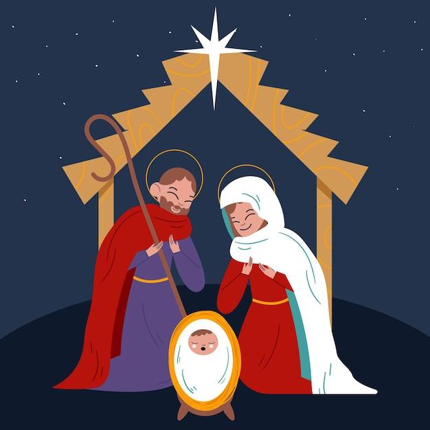 フラットなデザインのキリスト降誕のシーンの概念 無料ベクター