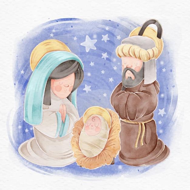 Nativity scene concept in watercolor Free Vector