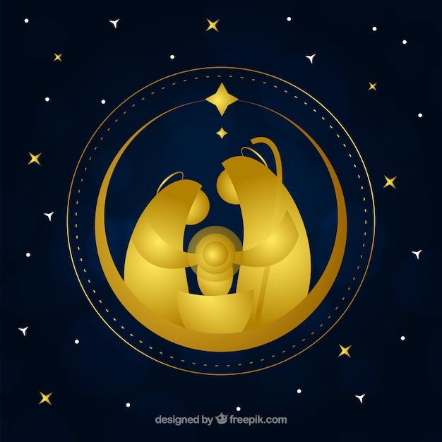 El Dorado Blue Card >> Nativity scene golden background Vector | Free Download