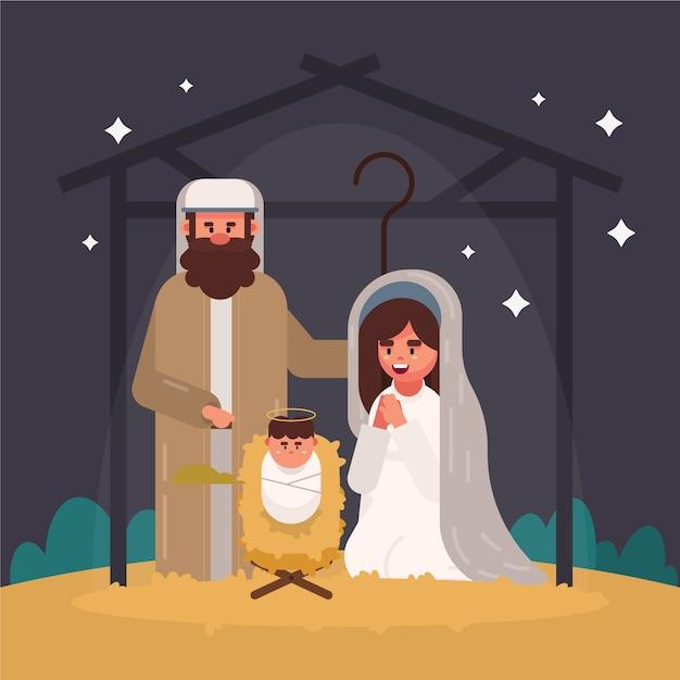 Nativity scene illustration in flat design Free Vector