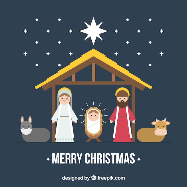 Nativity Scene Merry Christmas Background Free Vector
