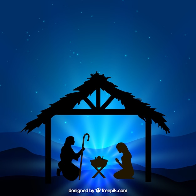 Nativity scene silhouette illustration Free Vector